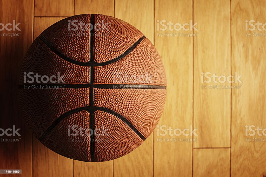 basketball on court stock photo