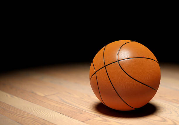 Basketball on dark background stock photo