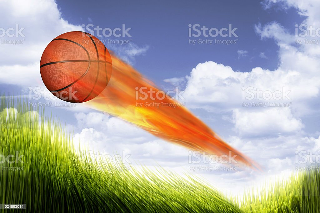 Basketball on Fire. stock photo