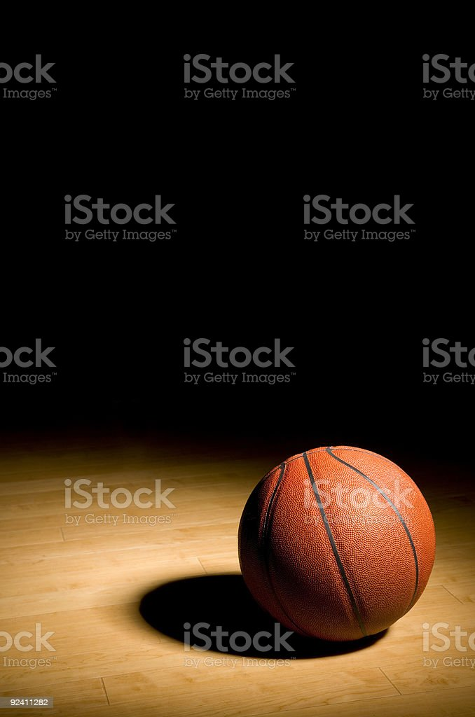 Basketball on the Hardwood with Black Copy space above (XXL) royalty-free stock photo