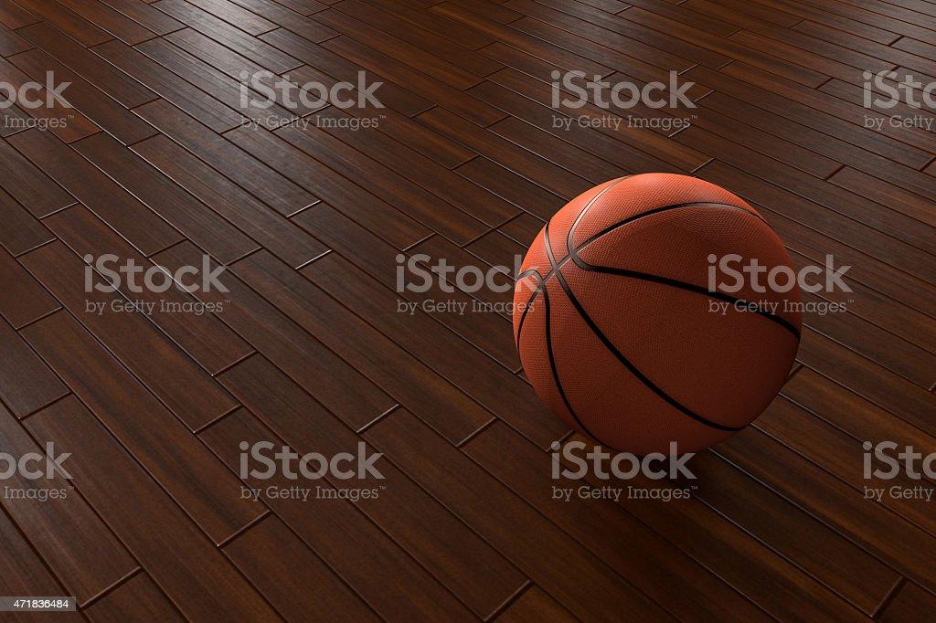 basketball on wooden parquet floor