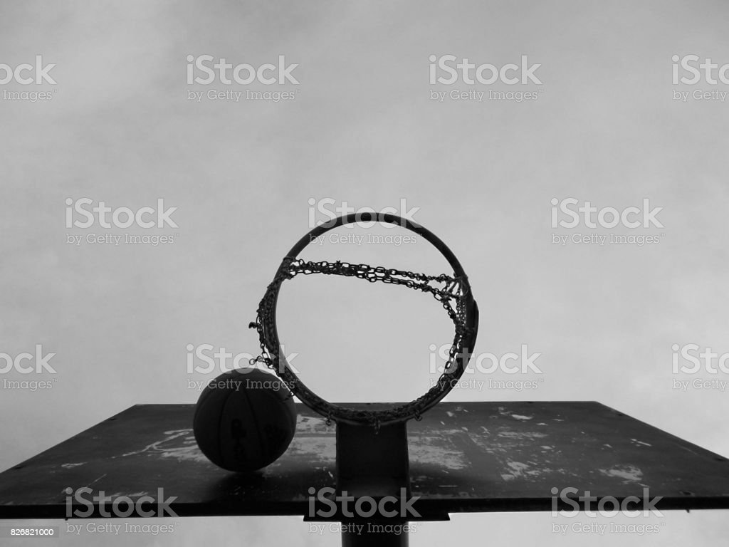 B&W basketball stock photo