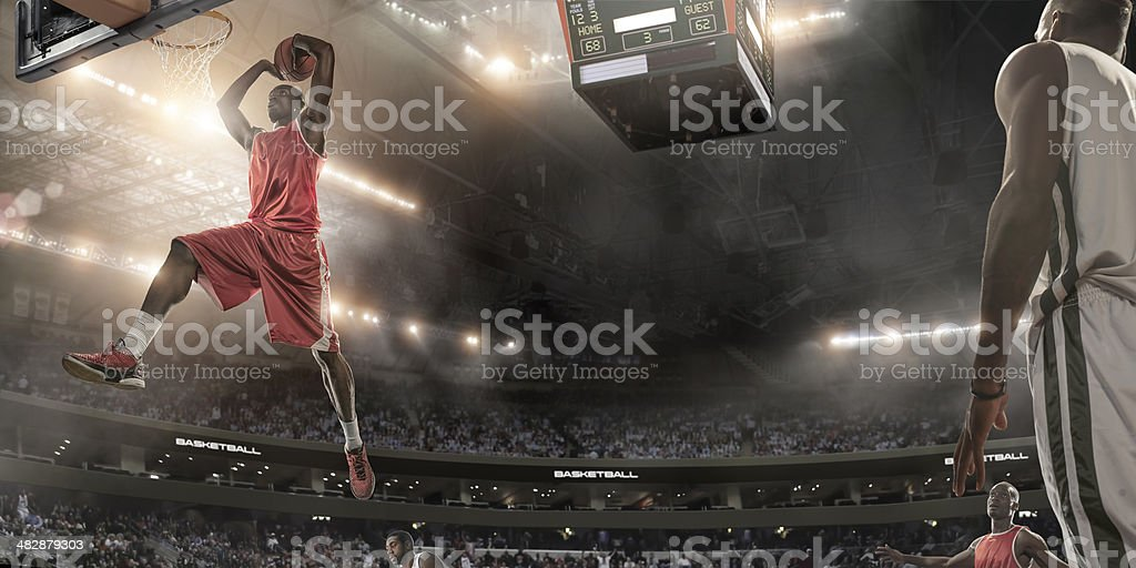 Basketball Player About To Slam Dunk royalty-free stock photo