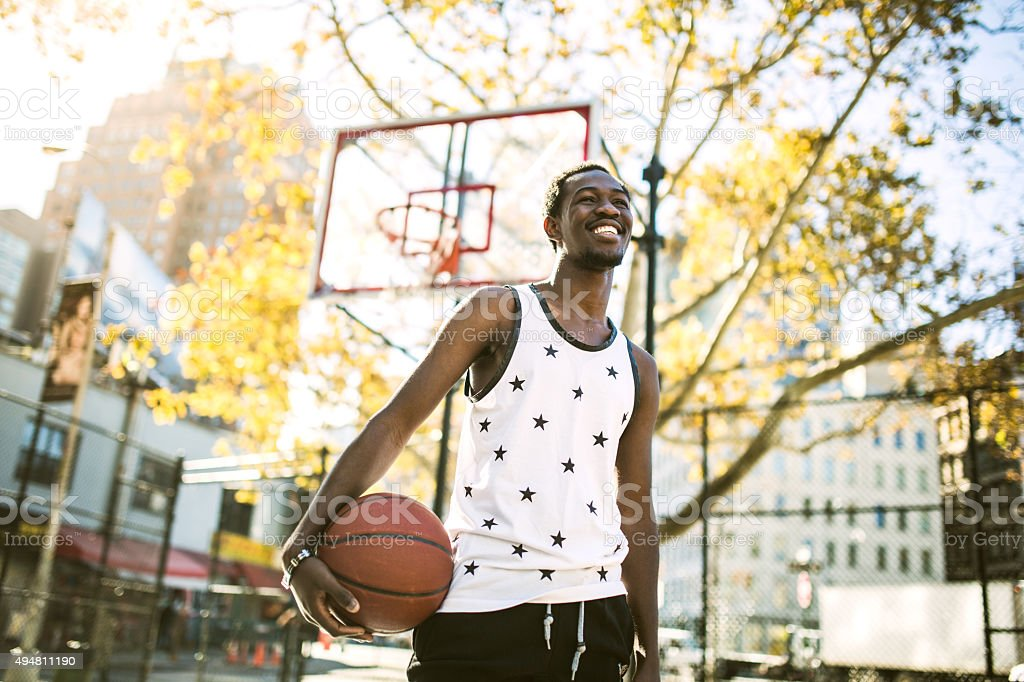 Basketball Player at New York Court stock photo