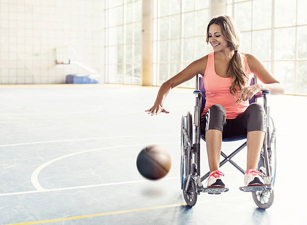basketball player in wheelchair - wheelchair sports stock photos and pictures