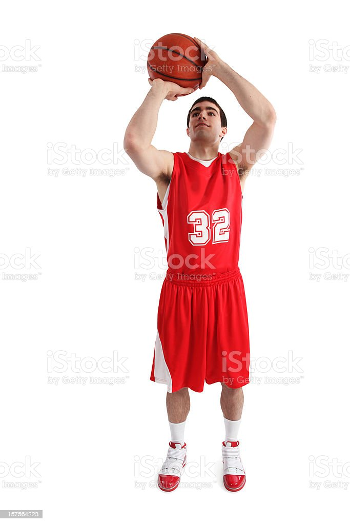 Basketball Player Isolated on White stock photo