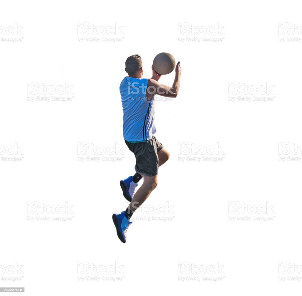 Basketball player lay up isolated on white stock photo