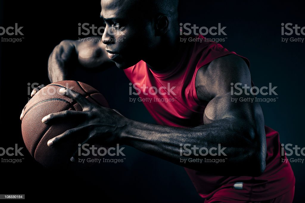 basketball player making a move royalty-free stock photo