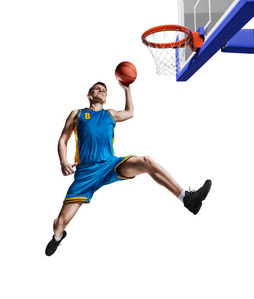 basketball player making slam dunk isolated basketball playing making slam dunk isolated on white slam dunk stock pictures, royalty-free photos & images