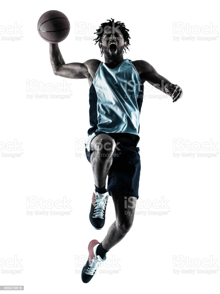 basketball player man isolated silhouette shadow stock photo