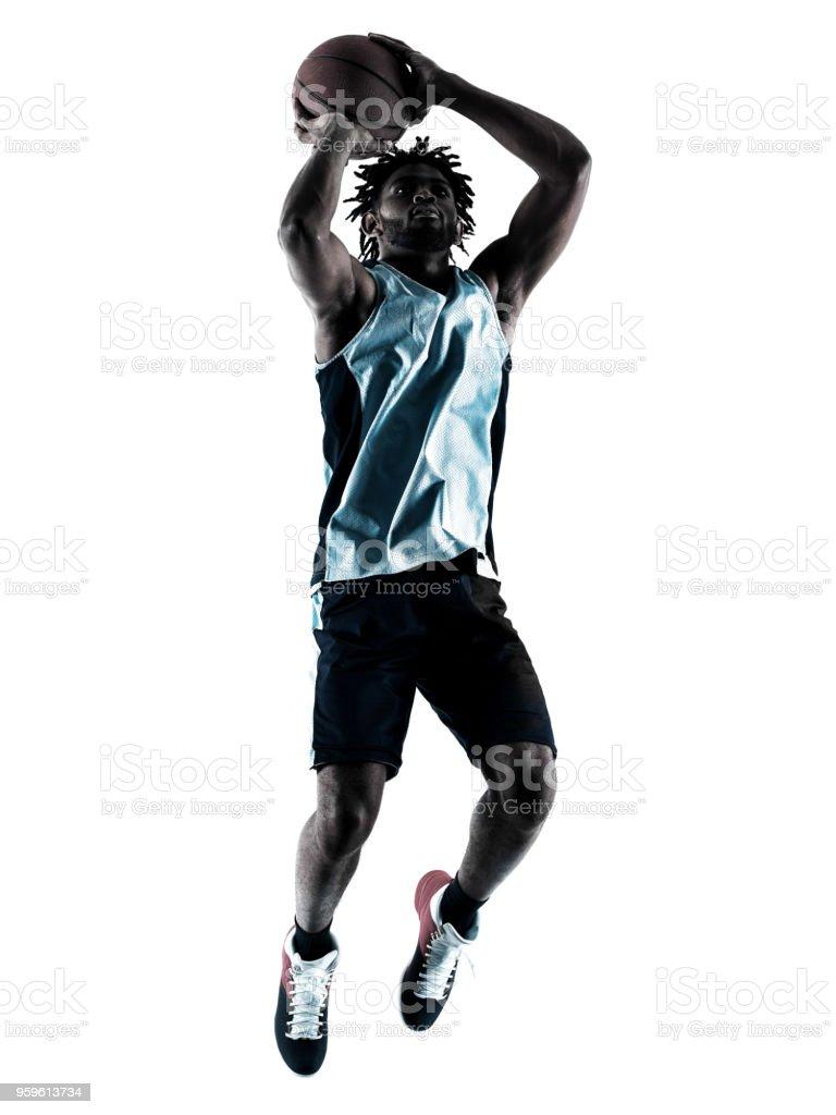 sombra de silueta de hombre aislado de jugador de baloncesto - Foto de stock de Adulto libre de derechos