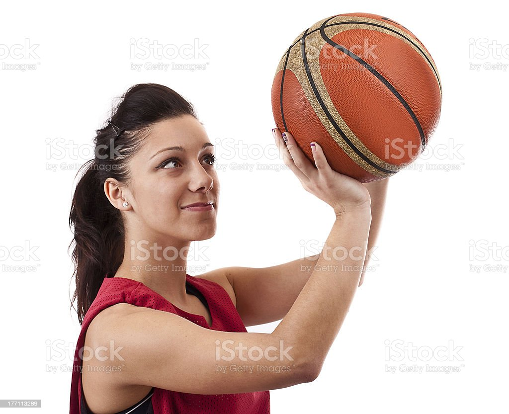 \'Basketball player with ball, isolated on a white background\'