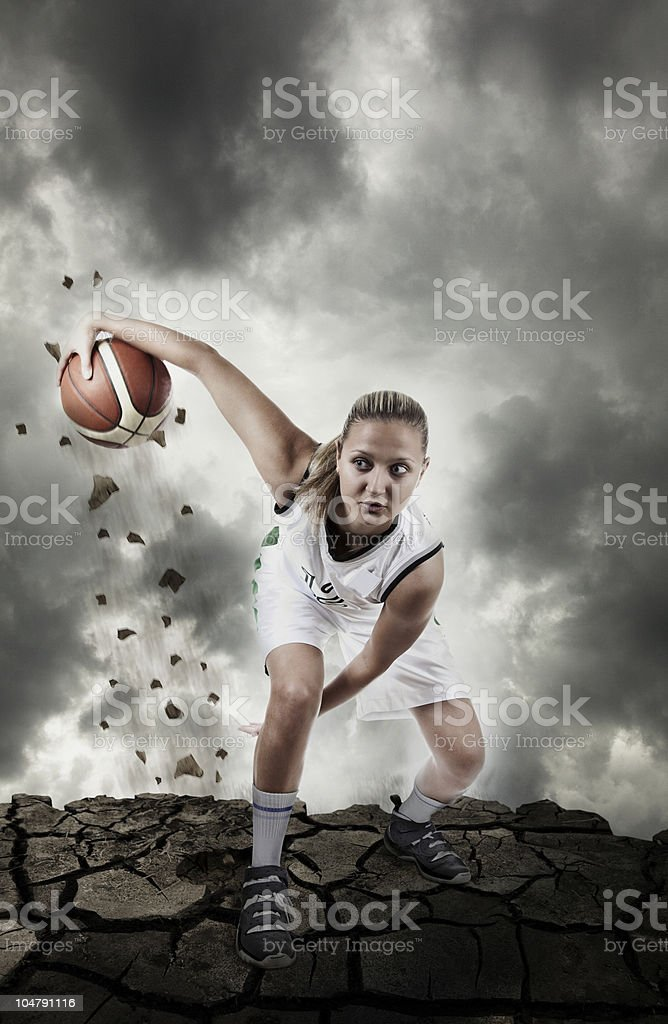 Basketball player running on grungy surface royalty-free stock photo