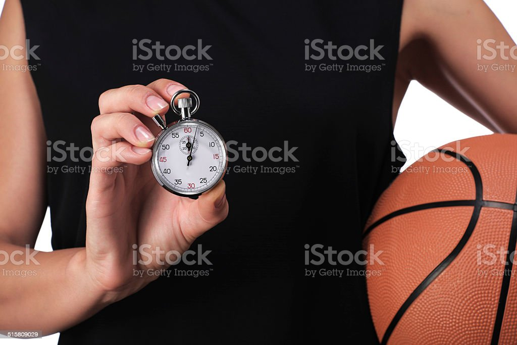 basketball player showing a stopwatch stock photo