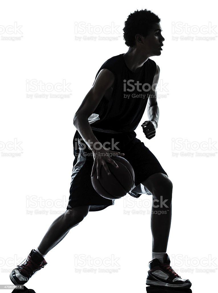 basketball player silhouette stock photo