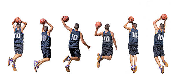 basketball player silhouettes six silhouettes of basketball players jump shot stock pictures, royalty-free photos & images
