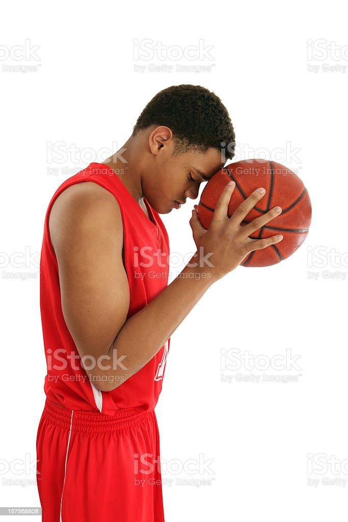 Basketball Player Thinking Before Shooting stock photo