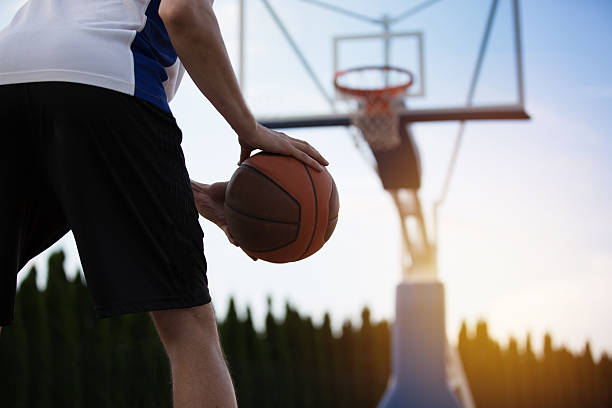 Basketball player training on the court. concept about basketbal - foto stock