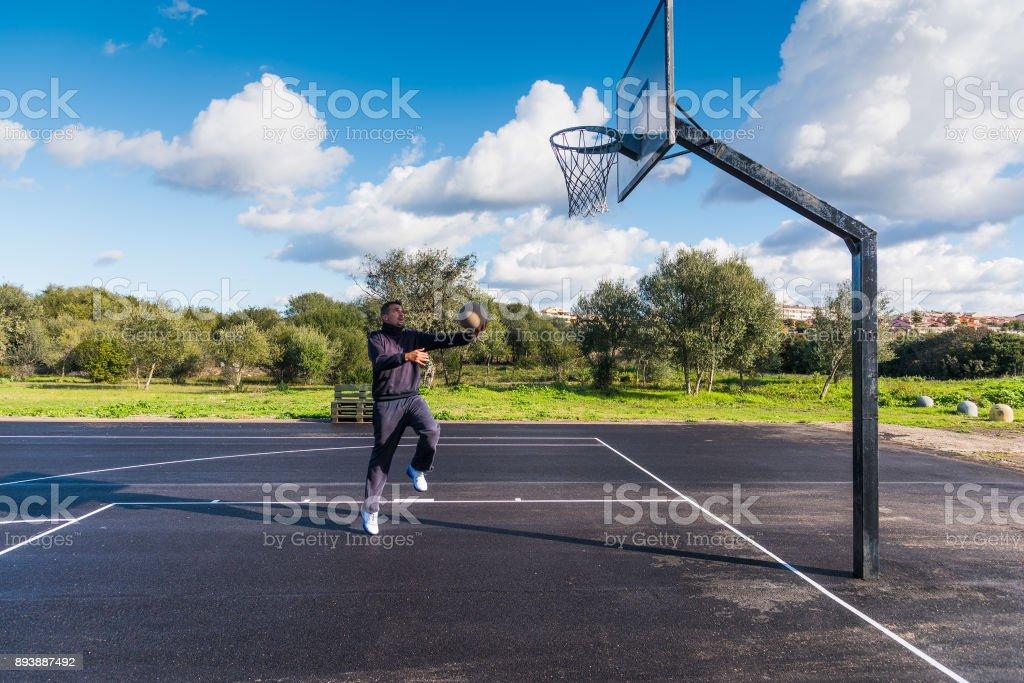Basketball player warmin up stock photo