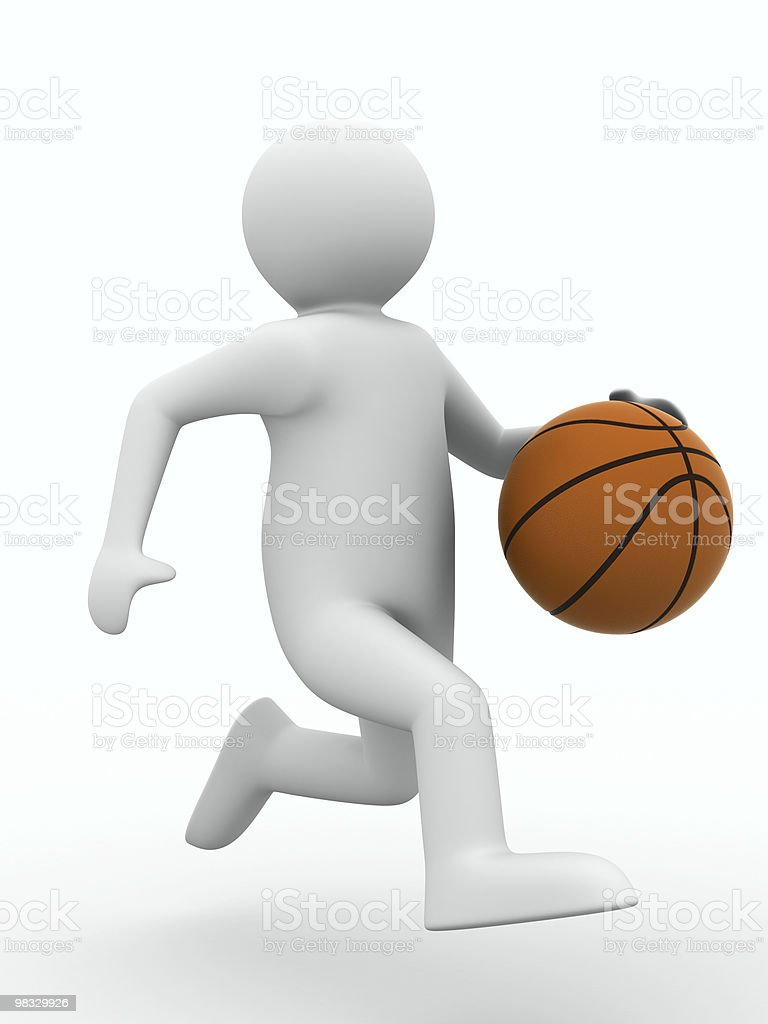 basketball player with ball on white background. Isolated 3D image royalty-free stock photo