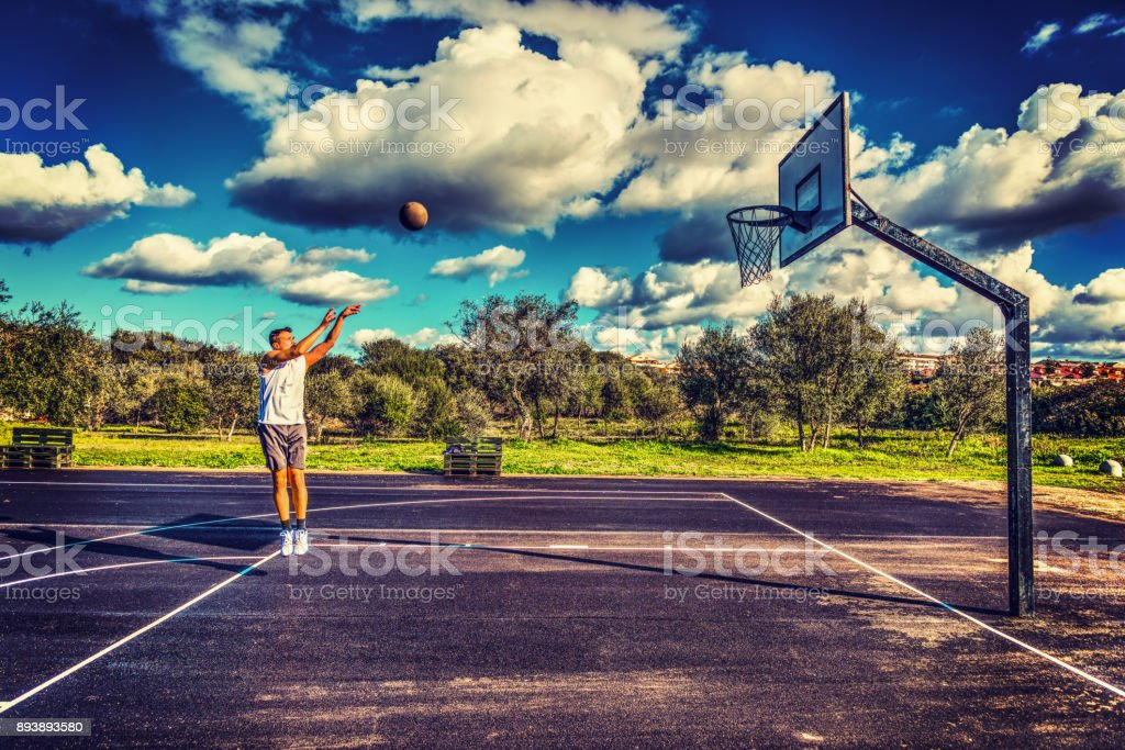 Basketball player workout in hdr stock photo