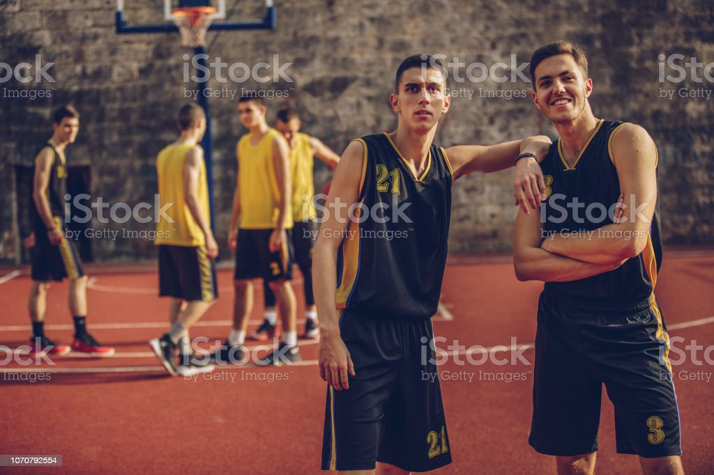 Group of male basketball players
