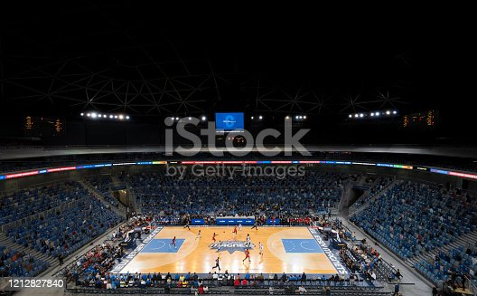 Elevated view of spectators watching basketball match in Arena Stozice, Ljubljana, Slovenia.