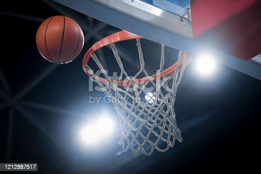 Close-up of basketball reaching to hoop in Arena Stozice, Ljubljana, Slovenia.
