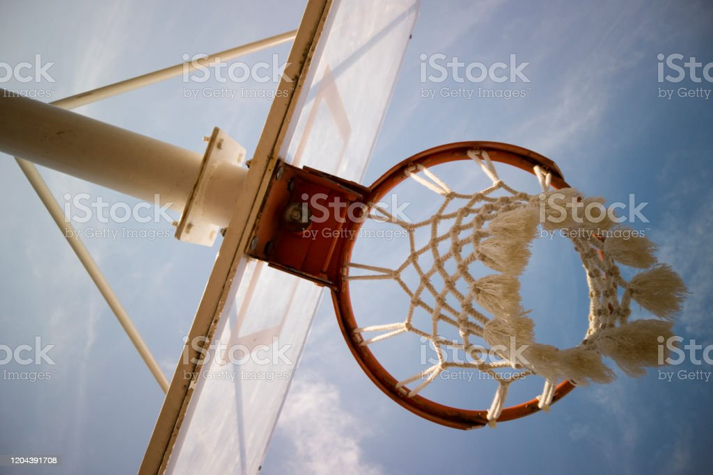 Basketball rim amazing shot with sky - Royalty-free 3-on-3 Basketball Stock Photo
