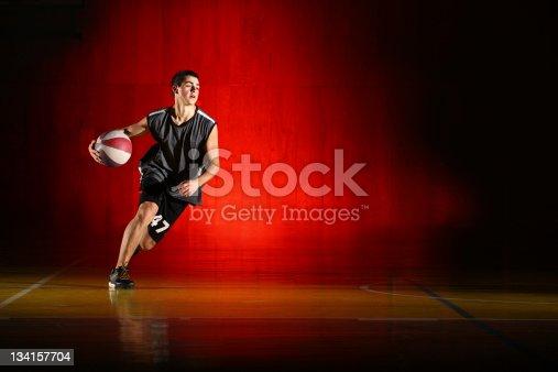 istock Basketball run on red background 134157704