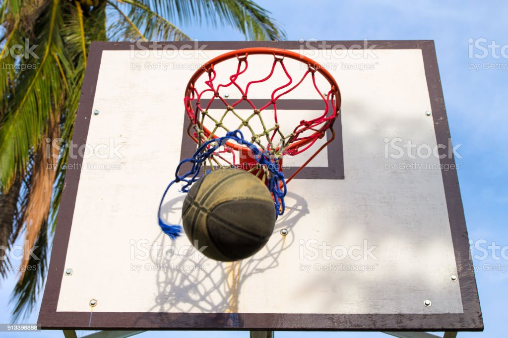 Basketball sport equipment. Ball and basket activity. Summer outdoor...