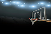 A professional basketball stadium arena background with flares and basketball goal with copy space.