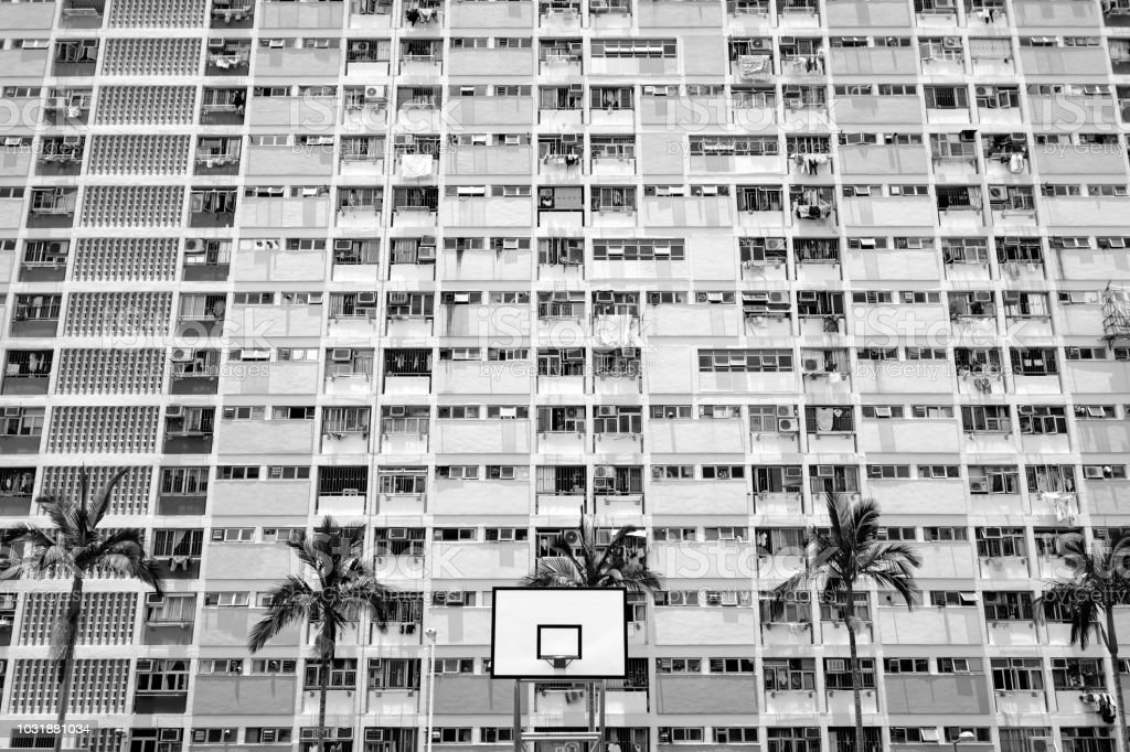 Basketball stand with windows Background (Black and White'n) stock photo