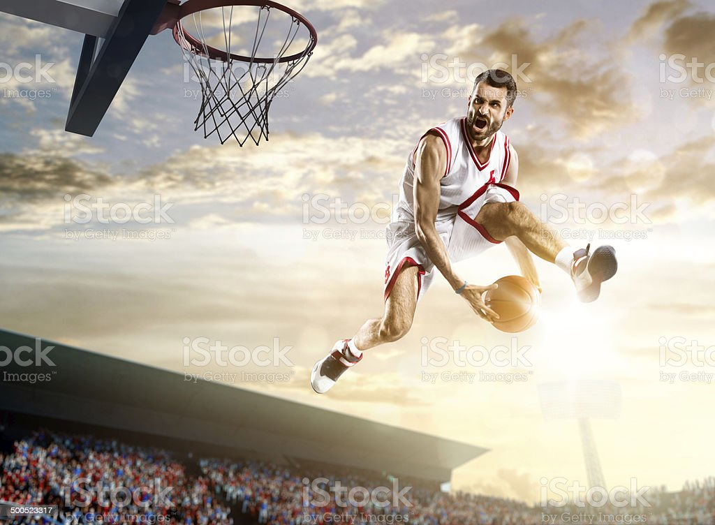 Basketball sunset stock photo