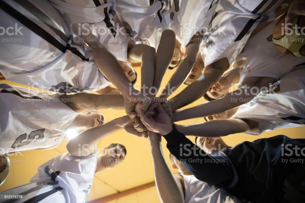 Basketball team stacking stock photo