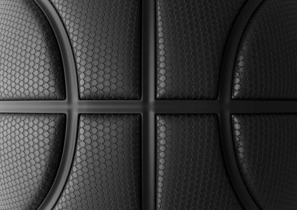 Basketball texture Black Basketball with black Line Design Background. Basketball texture. Dots Surface. 3D illustration. 3D high quality rendering. basketball ball stock pictures, royalty-free photos & images