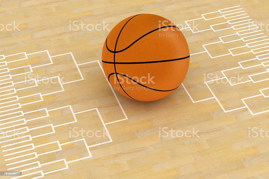 Basketball tournament scheme and ball royalty-free stock photo