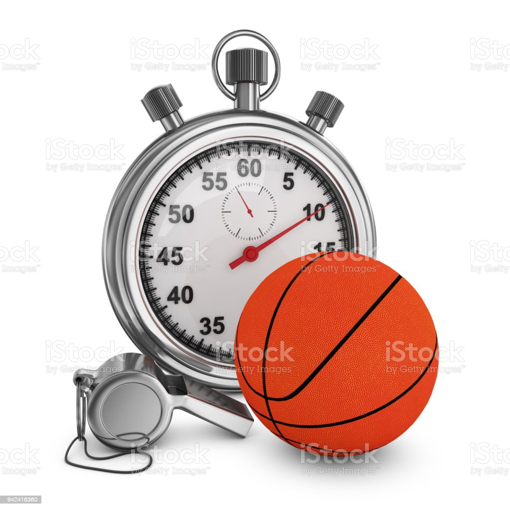 Basketball, referee whistle and stopwatch on a white background. 3d...