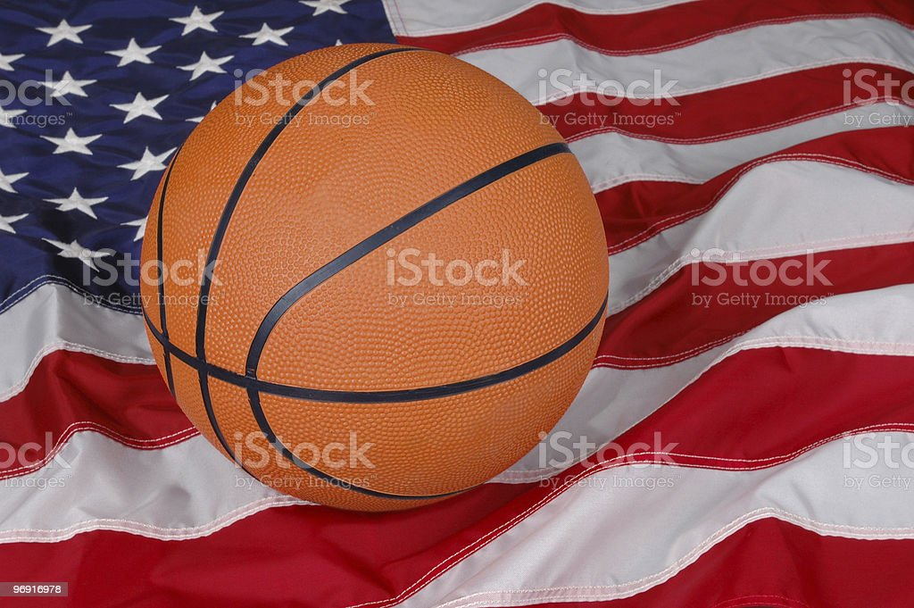 Basketball with American Flag royalty-free stock photo