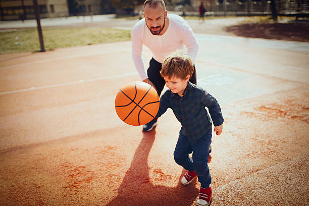 Basketball with my dad - foto stock