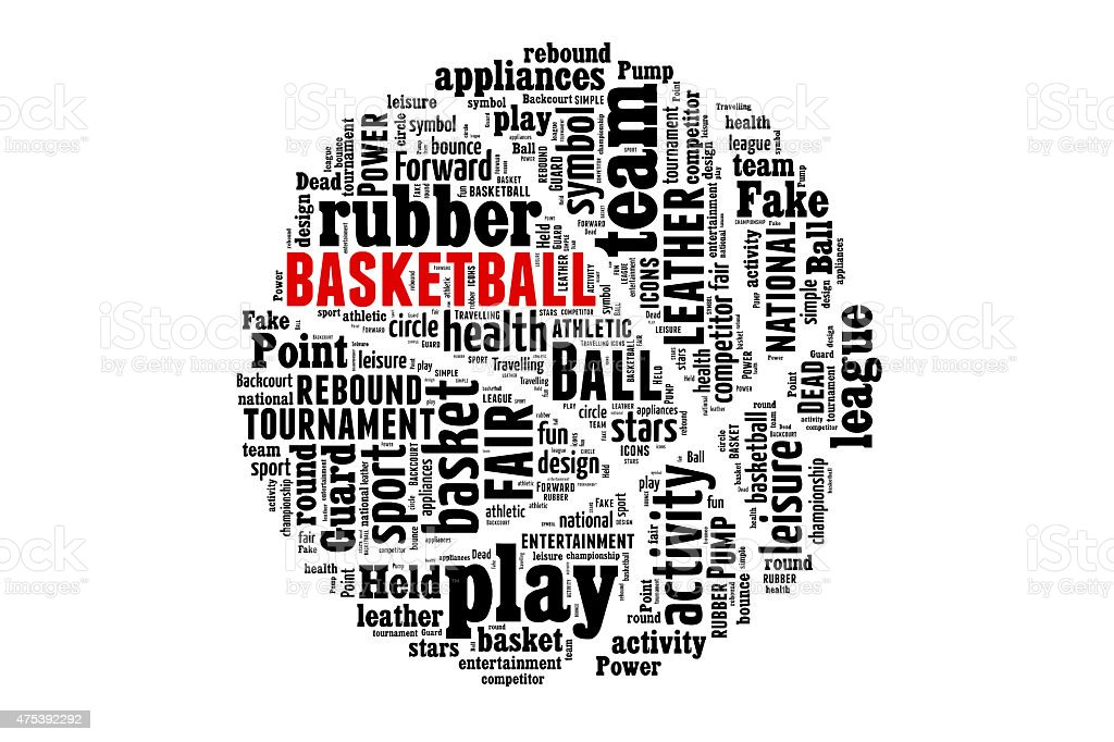 Basketball word cloud concept stock photo