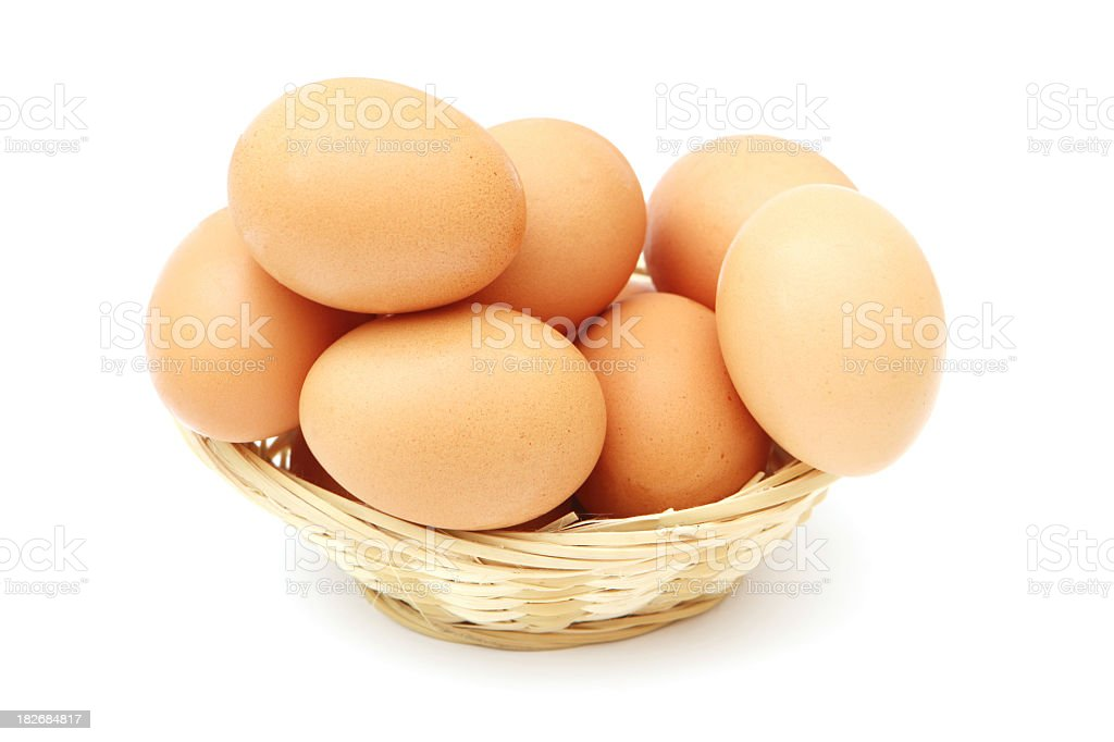 Basketful of light brown eggs on white royalty-free stock photo