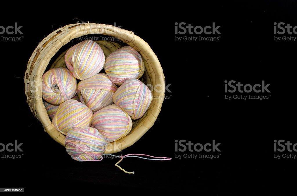 Basketful of yarn stock photo
