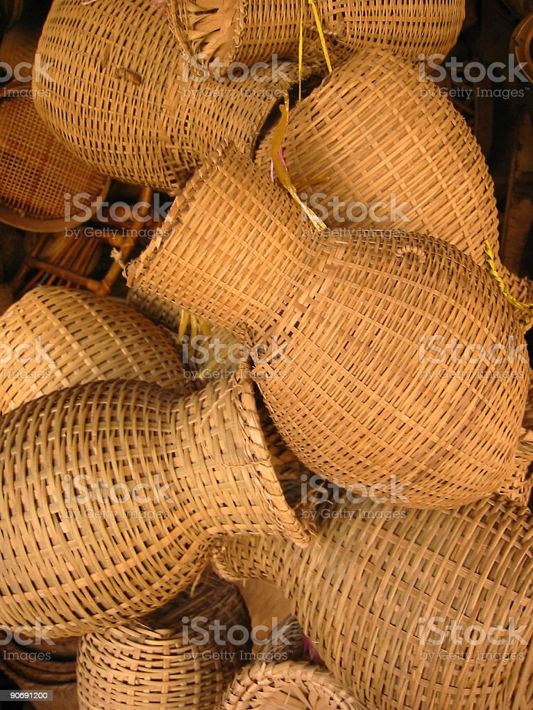 baskets at street market laos royalty-free stock photo