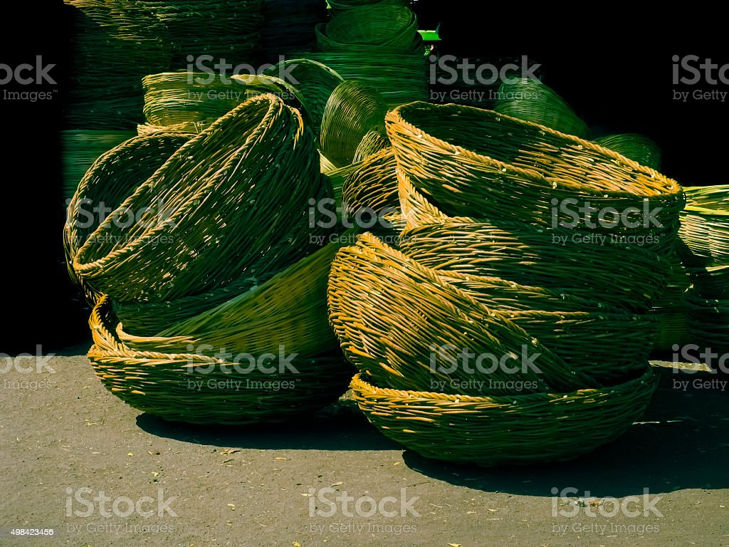 Baskets made of bamboo strips stock photo