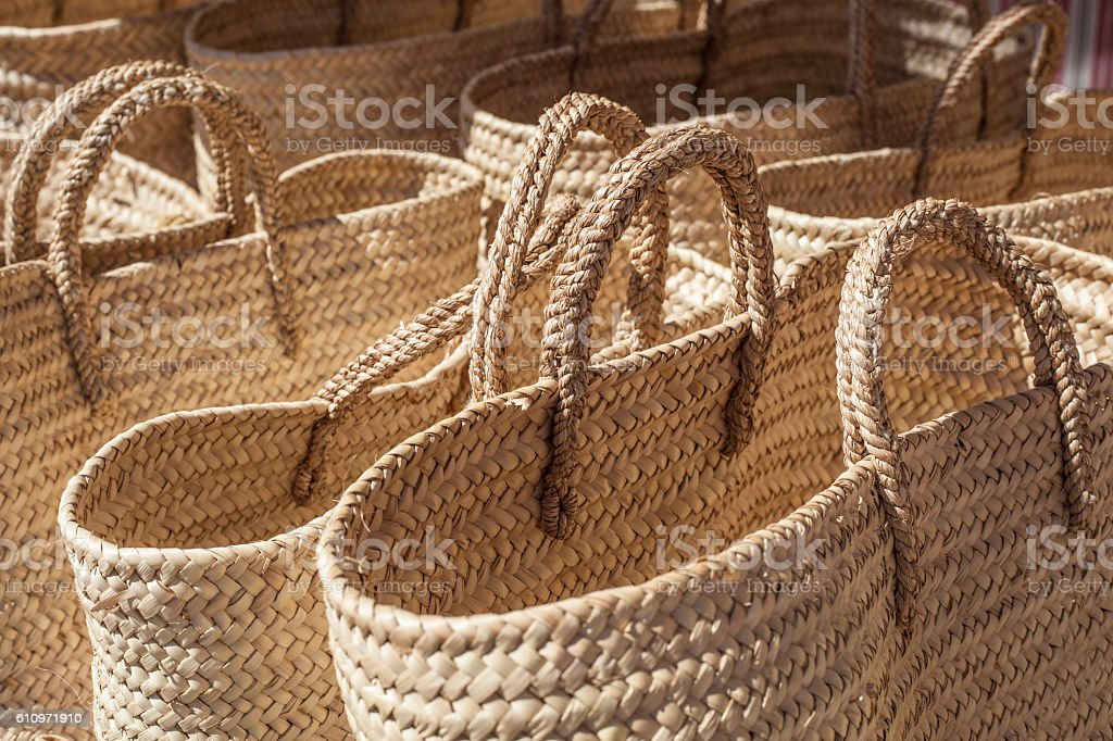 Baskets made of cattail fibers stock photo