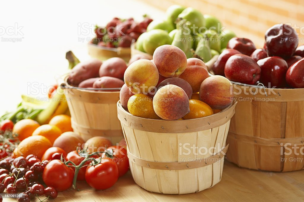 Baskets of Fresh Produce stock photo