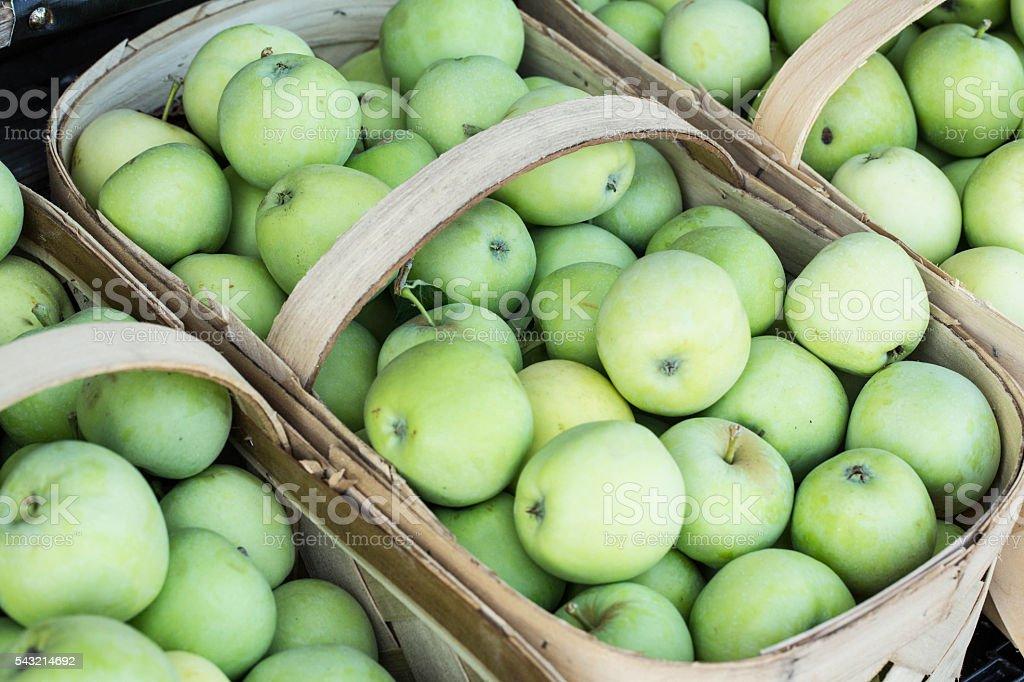 Baskets of Green Apples at Farmers Market Asheville North Caroli stock photo