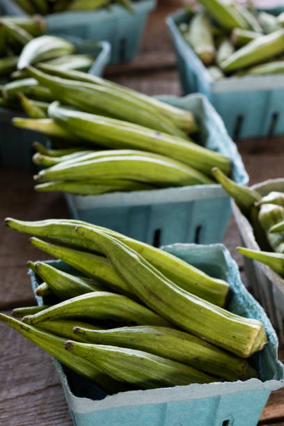 Baskets of Okra at the Farmer's Market stock photo