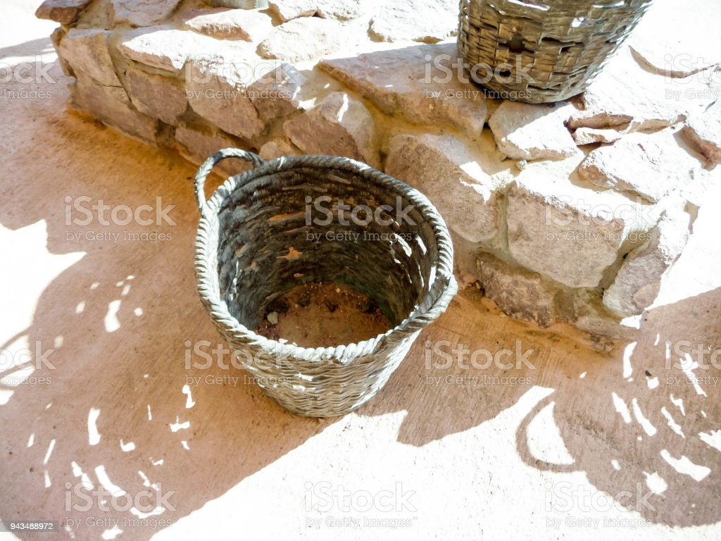 Baskets on copper mines in Israel stock photo